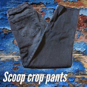Scoop Black Straight Denim Crop Jeans w/Raw Hem